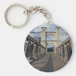 Old suspension bridge, Waco historical site, Texas Basic Round Button Keychain