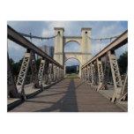 Old suspension bridge, Waco historical site, Texas Postcard