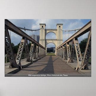 Old suspension bridge Waco historical site Texas Print