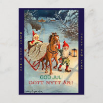 Old Swedish Tomte Elf Merry Christmas & New Year Holiday Postcard
