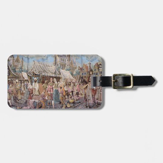 old tapestry luggage tag