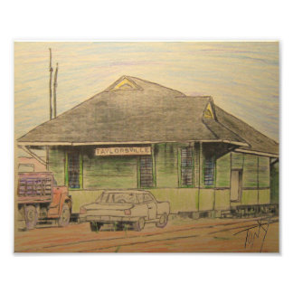 Old Taylorsville, Miss.Train Depot Colorized Vers. Photo Print