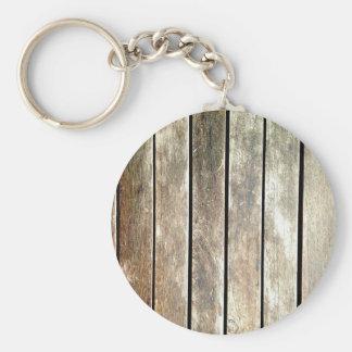 Old teak slats basic round button keychain
