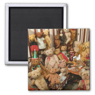 Old Teddy Bears Collection 2 Inch Square Magnet