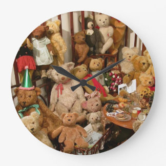 Old Teddy Bears Collection Large Clock