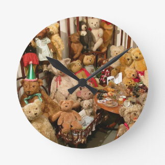 Old Teddy Bears Collection Round Clock