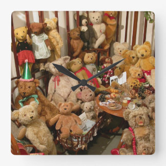 Old Teddy Bears Collection Square Wall Clock