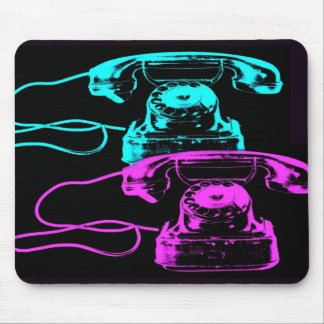 Old Telephone Collage Mouse Pad