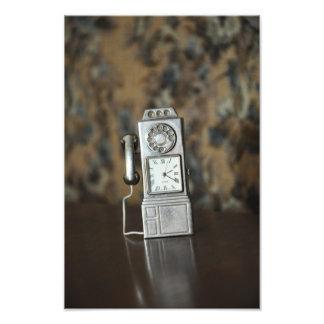 Old telephone miniature photo print