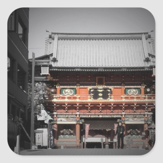 Old Temple in Tokyo Square Sticker