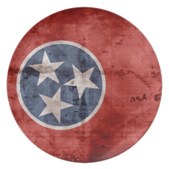 Old Tennessee Flag; Dinner Plate