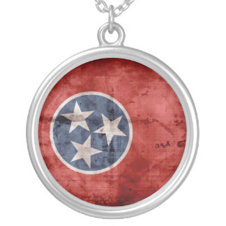 Old Tennessee Flag; Round Pendant Necklace
