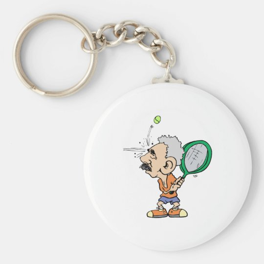 Old Tennis Player Keychain