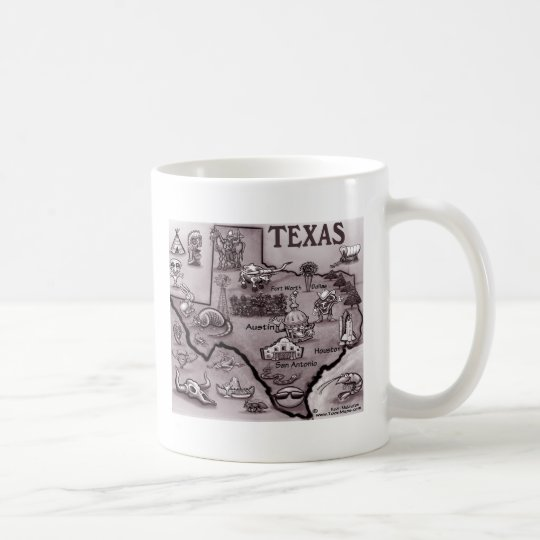 Old Texas Cartoon Map Coffee Mug
