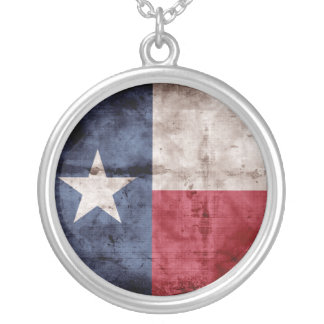 Old Texas Flag Round Pendant Necklace