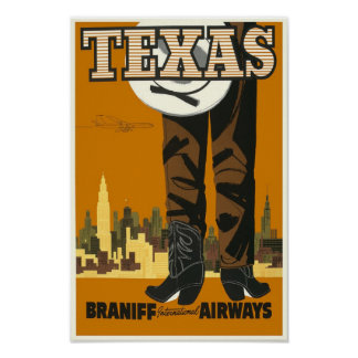 Old Texas travel poster