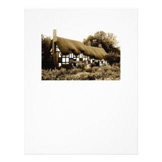 Old thatched Tudor cottage England British Letterhead