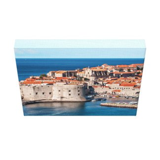 Old Themed, Ancient Village Of Castles With Red Ro Canvas Print