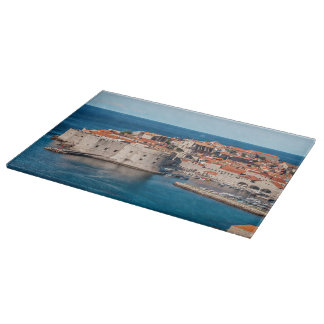 Old Themed, Ancient Village Of Castles With Red Ro Cutting Board