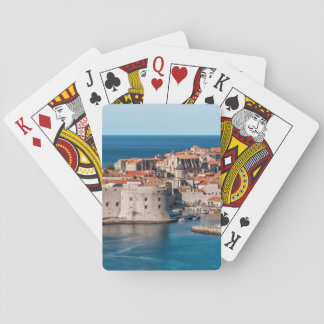 Old Themed, Ancient Village Of Castles With Red Ro Deck Of Cards