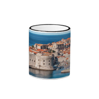 Old Themed, Ancient Village Of Castles With Red Ro Ringer Mug