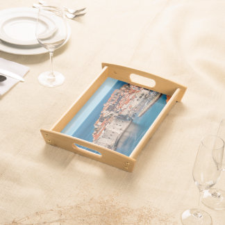 Old Themed, Ancient Village Of Castles With Red Ro Serving Tray