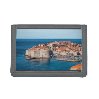 Old Themed, Ancient Village Of Castles With Red Ro Trifold Wallet