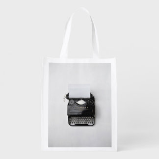 Old Themed, Old Black Classy Vintage Typewriter On Reusable Grocery Bag