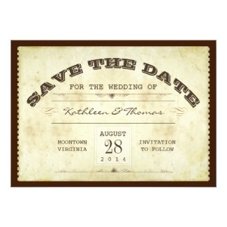 old ticket typographic save the date flat cards