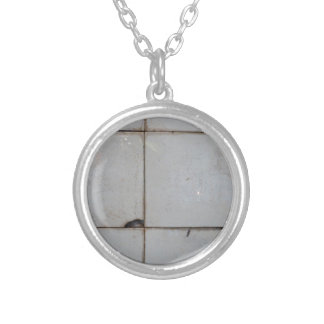 Old tile structure silver plated necklace