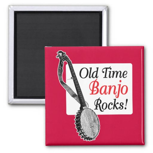 Old Time Banjo Rocks 2-inch Square Refrigerator Magnet