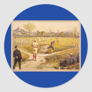 Old Time Base Ball Round Sticker