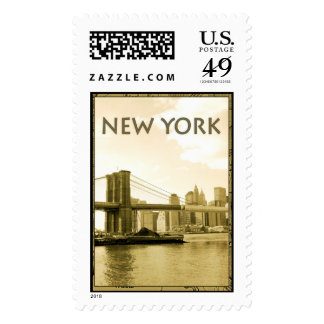 Old Time Brooklyn Bridge Stamp