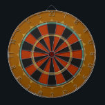 "Old-Time Leather Big Top Dart Board<br><div class=""desc"">A regulation size dart board inspired by a birds-eye view of a circus tent from the mid 1800&#39;s,  with slightly subdued colors and delicate shading that gives the effect of being fabricated with Ostrich Leather. Comes with 6 brass darts and hanging hook.</div>"