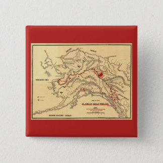Old time map of alaskan gold mines button