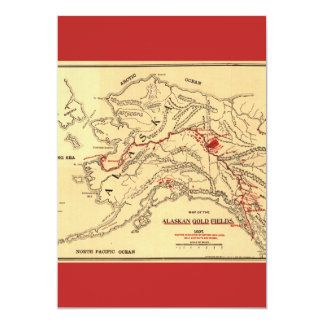 Old time map of alaskan gold mines card