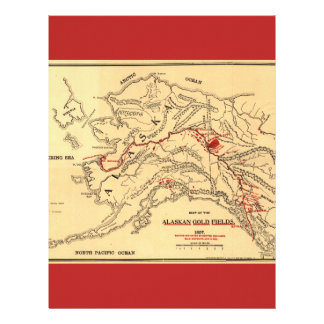 Old time map of alaskan gold mines letterhead