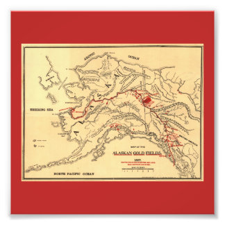 Old time map of alaskan gold mines photo print