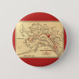 Old time map of alaskan gold mines pinback button