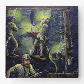 Old time miners working the big vane . square wall clock