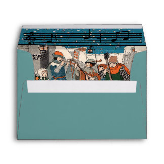 Old Time Musicians Christmas Carolers Music Notes Envelope