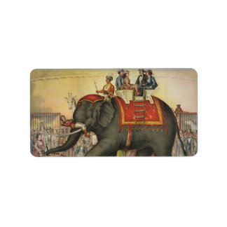 old time performing elephant label