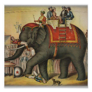 old time performing elephant poster
