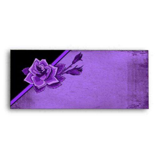 Old TIme Purple Rose Floral Set Envelopes