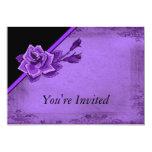 "Old TIme Purple Rose Floral Set 5"" X 7"" Invitation Card"