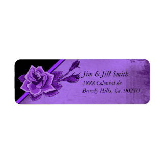 Old TIme Purple Rose Floral Set Label