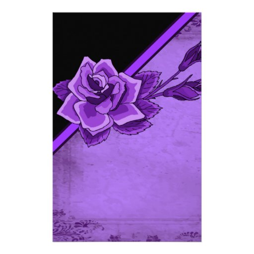 Old TIme Purple Rose Floral Set Stationery Design