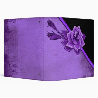 Old TIme Purple Rose Floral Set Vinyl Binder