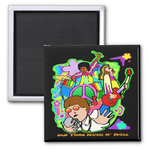Old Time Rock N' Roll 2 Inch Square Magnet