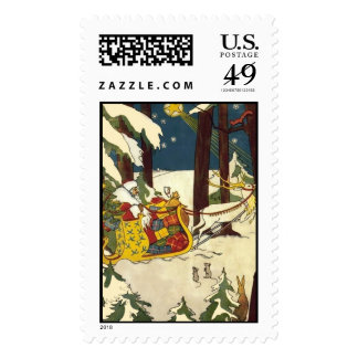 Old time Santa in the country side Postage Stamp